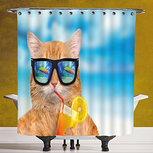 Cool Shower Curtain 3.0 by SCOCICI [ Funny,Cat Wearing Sunglasses Relaxing Cocktail in the Sea Background Summer Kitty Image,Blue Ginger ] Waterproof Polyester Fabric Decorative Bath Curtain - Rhinestones Sunglasses Versace With