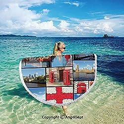 Printed Retangular Beach Towel-Microfiber Sand Free,Super Absorbent Outdoor Travel Blanket,Across Large Circle Circular Mat,England,England City Red Telephone Booth Clock Tower Bridge River British