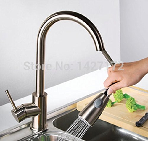 - Modern New Brushed Nickel Kitchen Faucet Pull Out Single Handle Swivel Spout Vessel Sink Mixer Tap