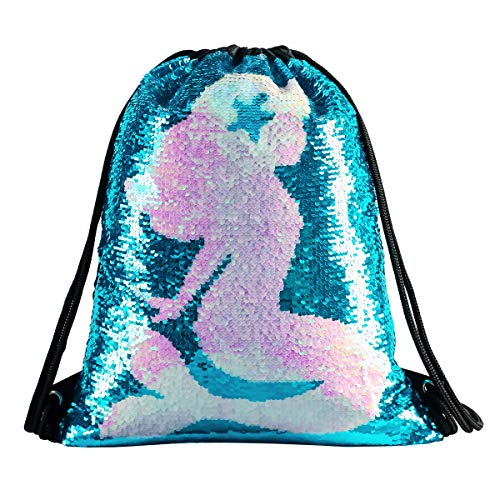 Mermaid Sequin Drawstring Backpack Glittering Outdoor Shoulder Bag,Magic Reversible Glitter Sports Backpack Bag Dance School Bag Girls Women Kids (DB-MermaidSty)