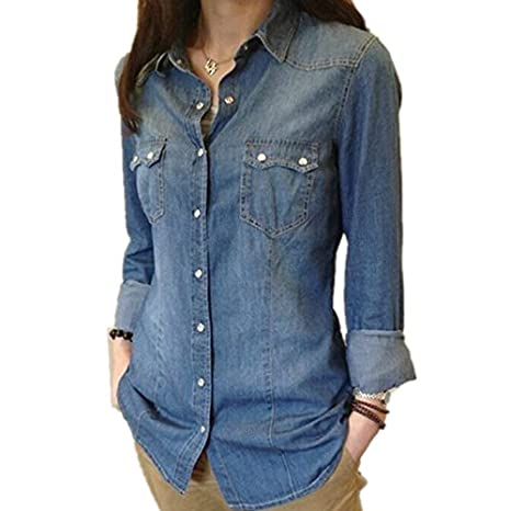 Dirithso Womens Chambray Shirt Top denim Shirts and Blouses Long Sleeve Snap Button Cotton Ladies Shirt Camisa Blusa Camisetas Femininas Sky Blue S at ...