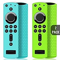 2 Pack Remote Case/Cover for Fire TV Stick 4K,Protective Silicone Holder Lightweight Anti Slip ShockProof for Fire TV Cube/3rd Gen All-New 2nd Gen Alexa Voice Remote Control-Turquoise,Green