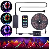 ELlight DreamColor Music LED Strip Lights, 5050 12V 150 LED Built-in IC, 16.4ft Sync to Music Flexible RGB Rope Light with RF Remote for Indoor Home Bedroom Holiday Party