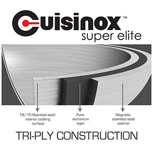 Cuisinox POT-436 14 inch Super Elite Covered Wok Tri-Ply Bonded Stainless steel 6.0 litre 6.3 quart capacity