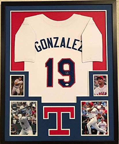 Framed Juan Gonzalez Autographed Signed Texas Rangers Jersey - JSA Authentication ()