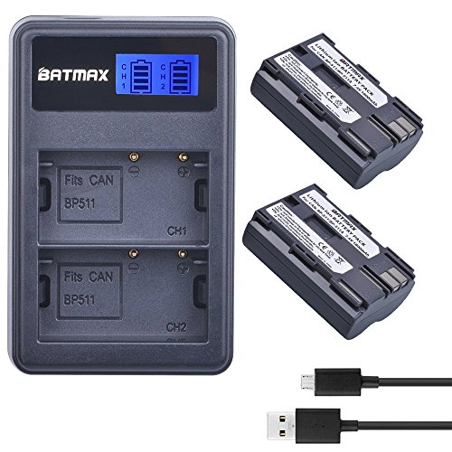 Batmax 2Packs High Capacity BP-511A BP-511 BP 511 511A Battery + LCD Dual USB Charger for Canon EOS 5D, 10D, 20D, 30D, 40D, 50D, Digital Rebel 1D, D60, 300D, D30, Kiss Powershot G5, Pro