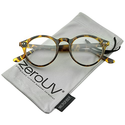 zeroUV - Retro Keyhole Nose Bridge Clear Lens P3 Round Glasses 46mm (Matte Yellow-Tortoise / - Plastic Round Glasses