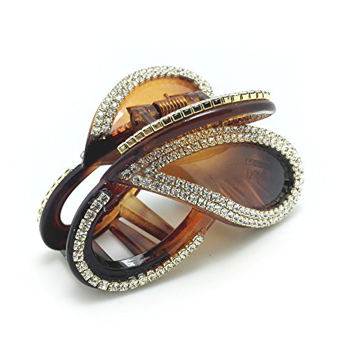 - Meilliwish Diamond Butterfly Hair Clip Claw (D14)(Brown)