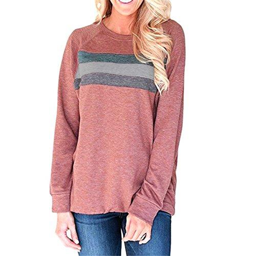 UniDear Womens Casual Loose Long Sleeve Crew Neck Sweatshirt Tops Purplish Red Small