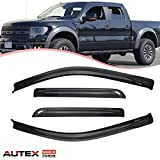 AUTEX 4 Pcs Tape On Window Visor Side Window Deflector Compatible with Ford F150 Crew Cab 2009 2010 2011 2012 2013 2014