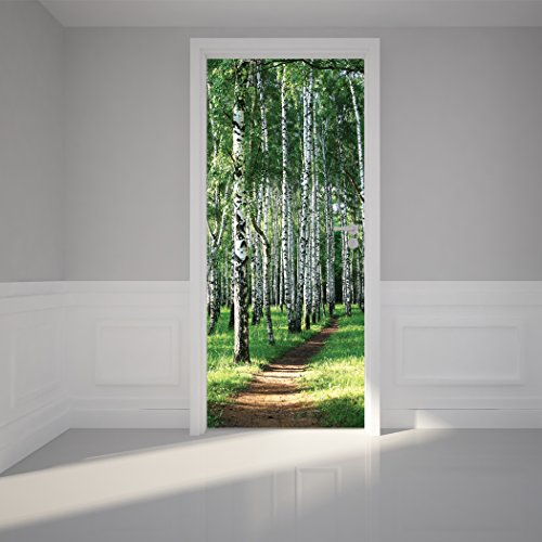 Door Wall Sticker Birch Tree Forest - Self Adhesive Peel u0026 Stick Repositionable Fabric Mural 31 w x 79 h (80 x 200cm) & Door Murals: Amazon.com pezcame.com