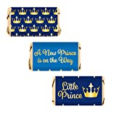 Little Prince Royal Baby Shower Mini Candy Bar Wrapper Labels, 54 Stickers