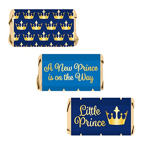 - Little Prince Royal Baby Shower Mini Candy Bar Wrapper Labels, 54 Stickers