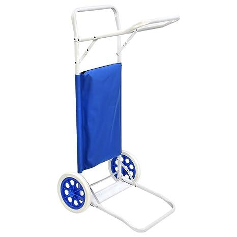 Carro Portasillas Plegable de Playa azul de Acero Garden - Lola Home