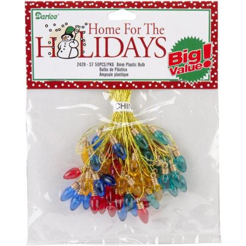Darice Plastic Bulbs, 8mm, Multicolor, 50/Pack (Ornaments Christmas Transparent)