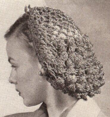 Vintage Crochet Pattern To Make Snood Hairnet Hair Net Fishnet