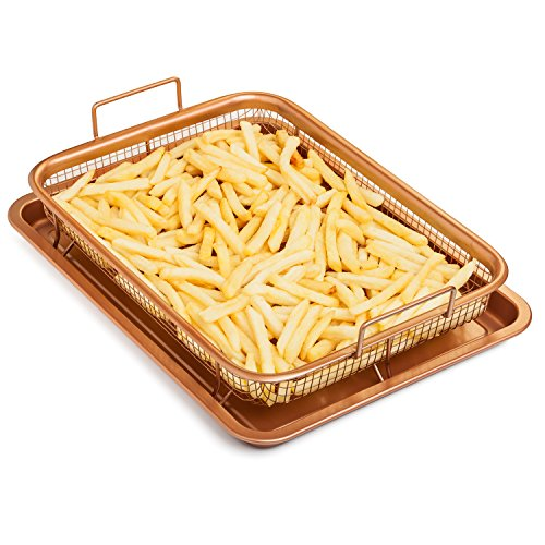 Chef's Star Premium Copper Crisper Air Fry Pan – Ceramic Coated Tray & Non-Stick Basket – Healthy Oil Free Frying Option For Chicken, French Fries, Onion Rings & More