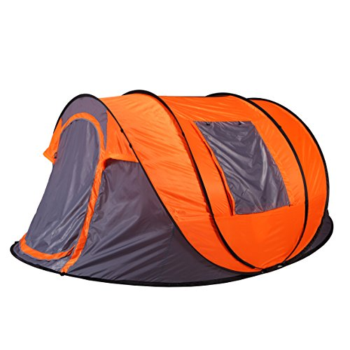 Bravindew 6 Person Pop Up Tent Automatic Easy Setup Camping Tent – Fast Pitch Tents With Portable Carrying Case (Includes Stakes) Ideal for Family Camping Hiking