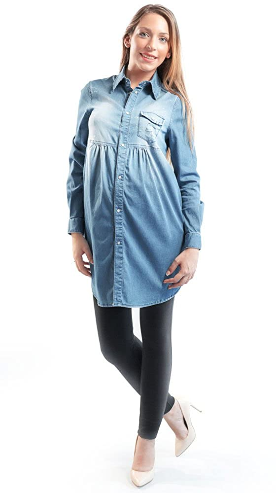 Camicia Jeans Donna Premaman, Manica Lunga Vintage - Made in Italy