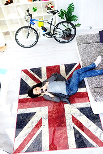 Ecarpetgallery Novelty Union Jack Picture Design 5' x 7' Red Living Room Dining Room arearug from eCarpet Gallery