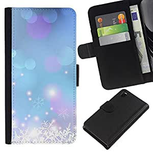 KingStore / Leather Etui en cuir / Sony Xperia Z3 D6603 / Flocon de neige bleu de Noël