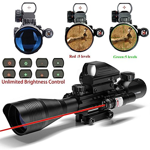 Lowest Prices! Tongji C4-12X50 AR15 Tactical Rifle Scope with Red Laser and Holographic Dot Sight (1...