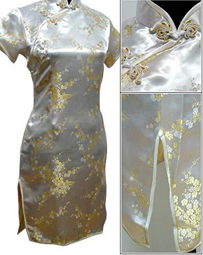 Black Traditional Dress Satin Qipao Cheongsam Flower S M L XL XXL XXXL 4XL 5XL 6XL,Light Yellow,XL