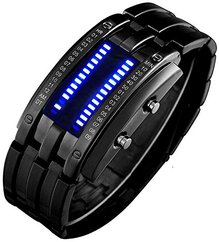 Binary Matrix Blue LED Digital Waterproof Watch Mens Classic Creative Fashion Black Plated Wrist Watches (Black Blue)