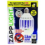 Zapplight 6437867 As Seen On TV Light Bug Zapper 60 watts 600 lumens 4000 K LED A19 Bright White 9 watts Equivalency