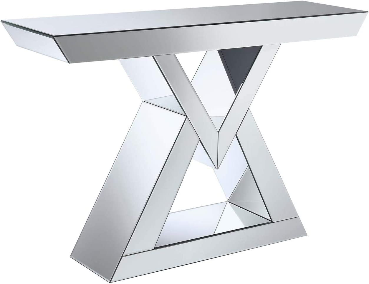 Coaster Home Furnishings Coaster Contemporary Triangle Base Silver Console Table with Mirrored Panels