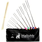 MalloMe Marshmallow Roasting Smores Sticks - Camping Accessories for Campfire Fire Pit Cooking - Set (Set of 8) 11 🏕️ ONLY MalloMe WILL LAST! BEWARE OF CHEAP KNOCK OFFS! Highest quality FDA APPROVED power welded forks use Non-Toxic 18/8 304 STAINLESS STEEL to ensure no rusting & safe roasting. PERFECT ROAST: Two prongs to prevent marshmallow from spinning on stick when melting. EASY CLEANING & STORAGE: Retracting fork design and heat-resistant canvas pouch are convenient for long camping trips or storing at home 🏕️BEST MONEY EVER SPENT: The MalloMe Marshmallow Roasting Sticks Bundle includes 8 Piece Telescoping Fork Set + Canvas Travel Bag Pouch + 10 Bamboo Skewers + Perfect Marshmallow Roasting and Smores Making Guide with 10 recipes Ebook 🏕️PERFECT GIFT for FAMILY and FRIENDS: Best Marshmallow Roasting Sticks for anyone looking for a high quality, great value product to enjoy at the cookout with the people you love.