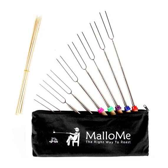 MalloMe Marshmallow Roasting Smores Sticks - Camping Accessories for Campfire Fire Pit Cooking - Set (Set of 8) 2 🏕️ ONLY MalloMe WILL LAST! BEWARE OF CHEAP KNOCK OFFS! Highest quality FDA APPROVED power welded forks use Non-Toxic 18/8 304 STAINLESS STEEL to ensure no rusting & safe roasting. PERFECT ROAST: Two prongs to prevent marshmallow from spinning on stick when melting. EASY CLEANING & STORAGE: Retracting fork design and heat-resistant canvas pouch are convenient for long camping trips or storing at home 🏕️BEST MONEY EVER SPENT: The MalloMe Marshmallow Roasting Sticks Bundle includes 8 Piece Telescoping Fork Set + Canvas Travel Bag Pouch + 10 Bamboo Skewers + Perfect Marshmallow Roasting and Smores Making Guide with 10 recipes Ebook 🏕️PERFECT GIFT for FAMILY and FRIENDS: Best Marshmallow Roasting Sticks for anyone looking for a high quality, great value product to enjoy at the cookout with the people you love.