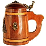 Medieval German style Beer Stein with Lid 17 oz. Renaissance Oktoberfest Wooden Mug for Men. Old Times Fashioned Coffee Drinking Cup. Authentic Wood Tankard with Handle. Fathers Day, Birthday Gift