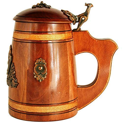 (Medieval German style Beer Stein with Lid 17 oz. Renaissance Oktoberfest Wooden Mug for Men. Old Times Fashioned Coffee Drinking Cup. Authentic Wood Tankard with Handle. Fathers Day, Birthday Gift)