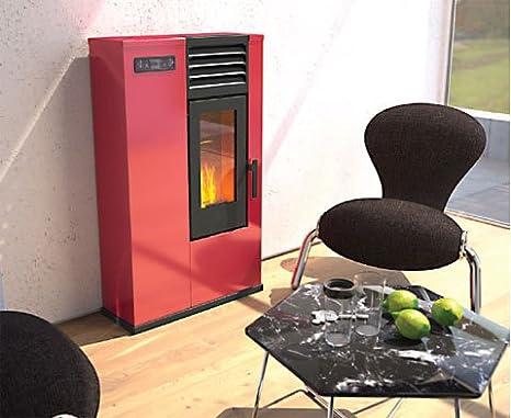 Estufa a PELLAS punto Fuego Susy Rojo - Max 6 kW para 70/150 m³ - sporge solo 23 cm: Amazon.es: Bricolaje y herramientas