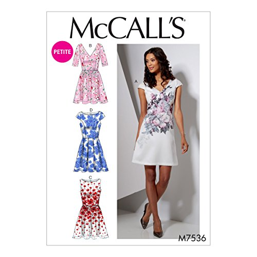 McCall's Patterns M7536A50 Petite Bateau Or V-Neck Dresses Sewing Pattern