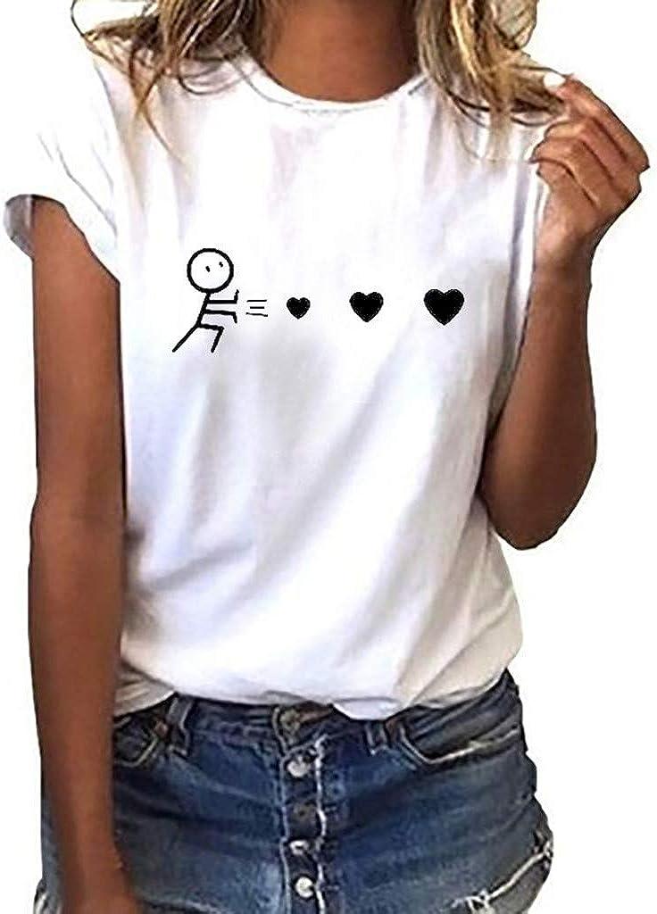 beautyjourney Maglia Magliette Donna scollate Elegante Tumblr estive Tee t Shirt Donna Divertenti Maglia Donna Manica Corta Camicetta Donna Elegante Top Donna Camicia Donna Manica Corta Top