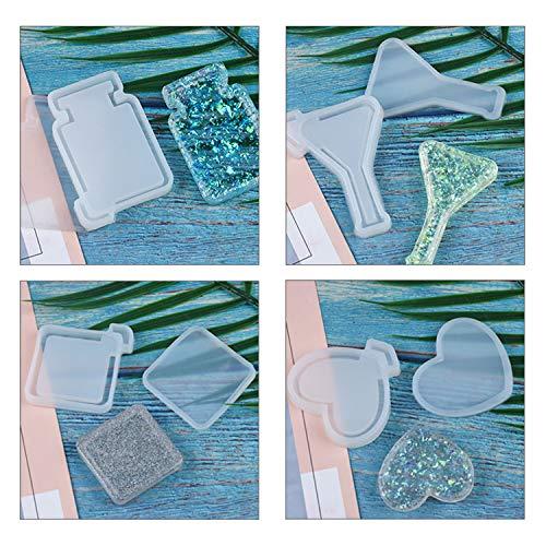 UV Resin Molds LET'S RESIN Kawaii Resin Shaker Mold , Crystal Silicone Molds, Epoxy Resin Molds with Moon, Heart, Star, Hourglass, Cat, Wine Glass, Perfume Bottle, Beaker Glass molds,Etc