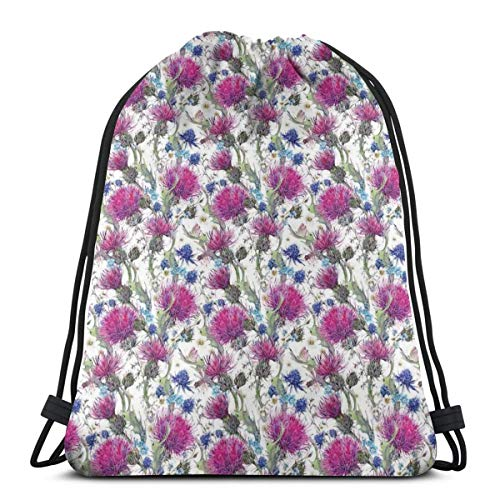 - Unisex Drawstring Bag Gym Bags Storage Backpack,Colorful Thistles Chamomiles And Meadow Herbs In Summer Nature As Vintage Theme