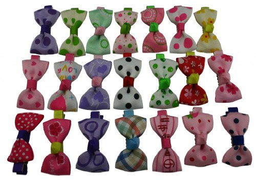 No Brand Little Girls' Ribbon Bowknot Barrettes 21 Styles Mixed Design(Pack Of 21) Size:2