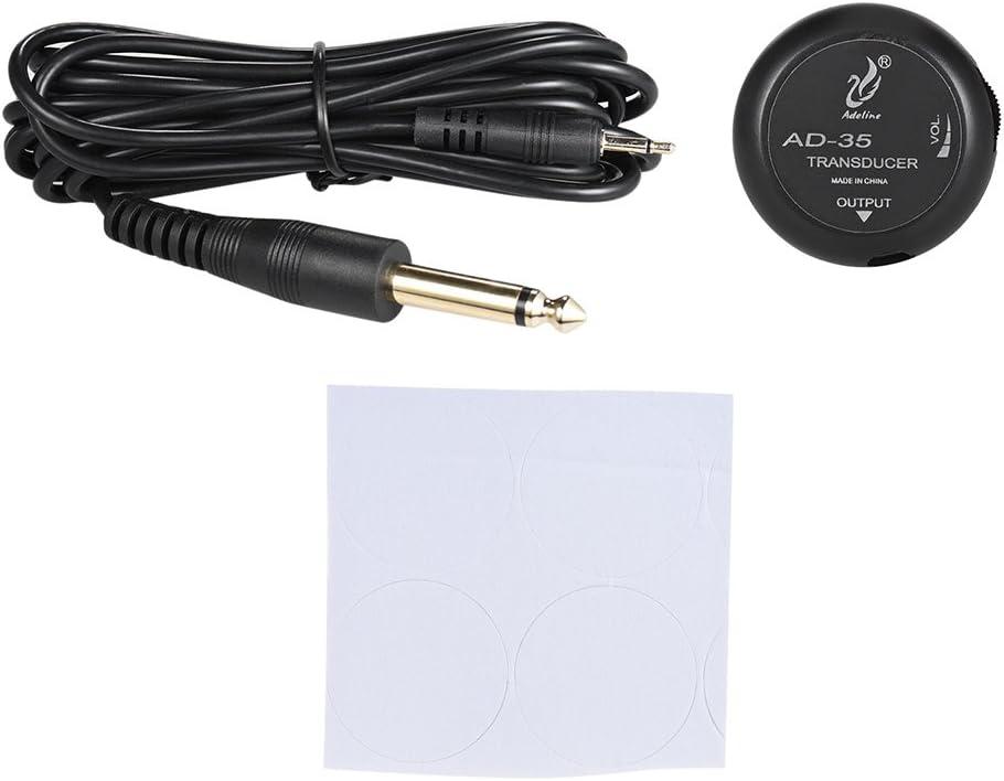 ammoon Adeline AD-35 Mini Piezo Pickup Pastilla Contacto Transductor de Micrófono con Conector de Salida de 6,35 mm Cable de 3 Metros para Acústica Clásica Guitarra Folk Violín Ukulele