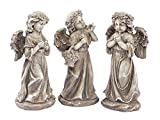 CC Home Furnishings Set of 3 Inspirational Statuary Standing Angel Outdoor Garden Statues 13″ Review