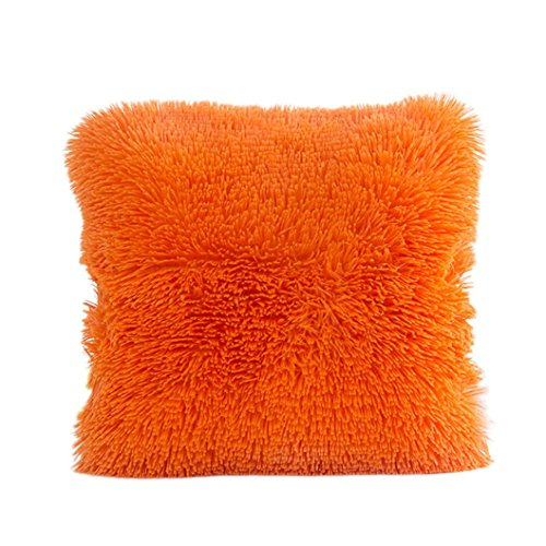 KMG Kimloog Faux Fur Square Throw Cushion Covers 18 x 18 Inch Fluffy Plush Couch Home Decor Couch Pillow Case (Orange)