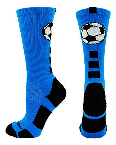 MadSportsStuff Soccer Ball Crew Socks (Electric Blue/Black, Medium)