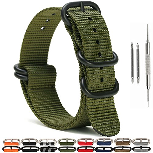 Watch Bands,Military Nylon Replacement Watch Strap with Black Heavy Duty Buckle 18mm 20mm 22mm or 24mm(18mm,Army green) ()