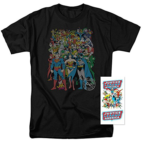 Justice League Superman Batman DC Comics T Shirt & Stickers (Medium)
