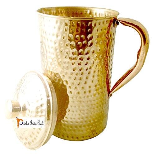 Prisha India Craft New Improved Hammered Copper Jug Pitcher, Drinkware & Serveware, Yoga, 2000 ML | 67 - Craft India