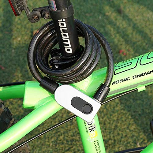 Motorcycle SL Elite Fingerprint Bike Lock Fence Anti-Theft Keyless Bicycle Lock with USB Charge IP66 Waterproof 39.4 inch Bicycle Cable Locks for Bike Door