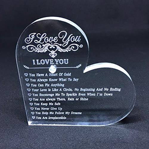 Valentine Gift Personalised Engraved Heart Crystal Keepsake and Paperweight 10 Reasons Why I Love You Unique - Heart Valentine Crystal