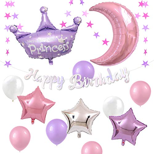 ETLEE Princess Birthday Decoration Set - Happy Birthday Banner & Giant Crown and Moon Foil Balloon & Latex Balloon for Princess Themed Birthday Party for Girl -